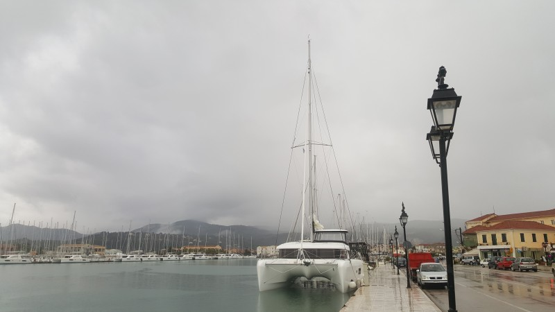 Storm in Ionian sea throws Aurora 60 miles off course but finally finds safe shelter in Lefkada